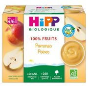 Hipp Bio 100% Fruit Cups Apple and Pear 4-6m 4x100g