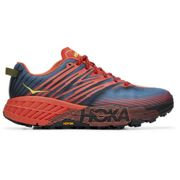 Hoka One One - Speedgoat 4 Fiesta / Provincial Blue - Trail Running Shoes Men 10 US Red