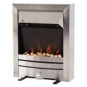 HOMCOM 2KW Stainless Steel LED Flame Electric Fireplace Pebble Burning Effect Heater