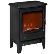 HOMCOM Electric Fireplace Stove, Free standing Fireplace Heater with Realistic Flame Effect, Overheat Safety Protection, 900W/1800W, Black