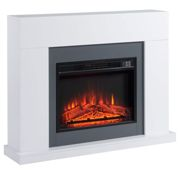 HOMCOM Electric Fireplace Suite with Remote Control, 2000W Freestanding Fireplace Heater with LED Flame Effect, Overheat Protection, Timer, White