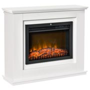 HOMCOM Electric Fireplace Suite with Remote Control, Freestanding Fireplace Heater with Flame Effect, Overheat Protection, 7-day Programmable Timer