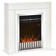 HOMCOM Electric Fireplace Suite with Remote Control, Freestanding Fireplace Heater with Flame Effect, 1kW/2kW, Overheat Protection, 7-day Timer, White