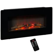 HOMCOM Electric Wall-Mounted Fireplace Heater with Adjustable Flame Effect, Remote Control, Timer, 1800/2000W, Black
