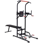 HOMCOM Multifunction Home Workout Station Tower Steel Frame w/ Bench Bars Ropes