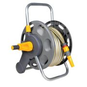 "Hozelock Floor and Wall Mounted Hose Reel 1/2"" / 12.5mm 50m Grey & Yellow"