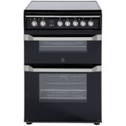Indesit 60cm Double Oven Electric Cooker Black