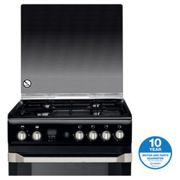 Indesit ID60G2K 60cm Gas Cooker in Black Gas Double Oven Glass Lid