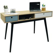 INDUSTRIAL - 2 Drawer Office Computer Desk / Dressing Table - Oak / Black
