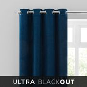 Isla Thermal Blackout Ultra Midnight Blue Eyelet Curtains Blue