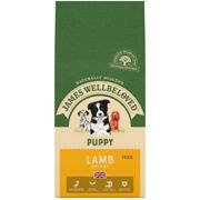 15kg James Wellbeloved Natural Puppy Complete Dry Dog Food Biscuits Lamb & Rice