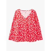 Joules Harbour Floral Jersey Top, Red Floral