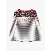 Joules Harbour Floral Print Jersey Top, Navy/Multi