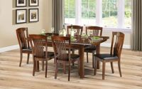 Julian Bowen Canterbury Extending Dining Table and 4 Faux Leather Chairs - Mahogany and Brown