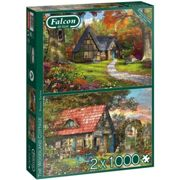 Jumbo Falcon De Luxe The Woodland Cottage 2 x 1000 Piece Jigsaw Puzzle