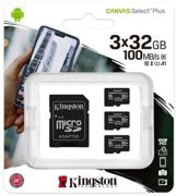 Kingston Canvas Select Plus Micro 32GB UHS-1 (U1) SD Card Pack of 3 with 1 Adaptor