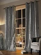 Kylie Minogue Iliana Lined Eyelet Curtains Silver 168x229cm (66x90inches)