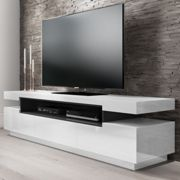 Large White High Gloss TV Unit with Grey Shelf - Harlow