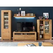Loano LED Living Room Set In Wild Oak With Small Display Cabinet