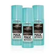 L'Oreal Magic Retouch Dark Iced Brown Temporary Instant Grey Root Concealer Spray Triple Pack - 3x75ml