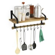 Love-KANKEI Wall Shelves for Kitchen - Rustic Wood Kitchen Organizer with Wood Rail and 8 Removable Hooks for Organize Cooking Utensils, Multi Use...