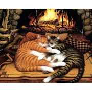 Love Sleeping Cats Fireplace Hugs Pet Animal, 1pc Pet Animal Acrylic Diy Painting By Number Hobby Kit Home Wall Picture Decor Arts Craft On Canvas