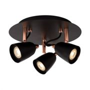 Lucide Ride LED 3 Light Spotlight Plate - Black & Copper