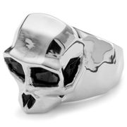 Mack Silver-Tone Monkey Skull Ring Steel