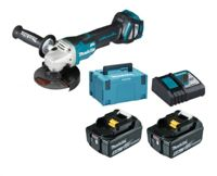 Makita DGA515RTJ 2x BL1850B 5Ah Battery + DC18RC in MAKPAC