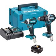 Makita Dlx2180Tj 18V Cordless Twin Kit Including The Dhp484 Combi Drill, Dtd153 Impact Driver With 2X 5.0Ah Batteries, Dc18Rc Quick Charger And Makpac Carry Case
