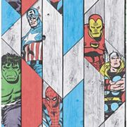 Marvel Superheroes Wood Panel Effect Multicoloured Decorative Wallpaper - 10m