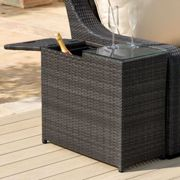 Maze Rattan Flat Weave Brown Ice Bucket Side Table