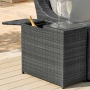 Maze Rattan Flat Weave Grey Ice Bucket Side Table