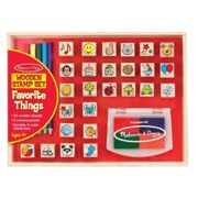 Melissa & Doug Wooden Stamp Set - 26 Wooden Stamps, 4-Colour Stamp Pad