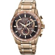 Mens Citizen Eco-drive Chrono Perpetual A-T Radio Controlled Alarm Chronograph PVD rose plating Watch