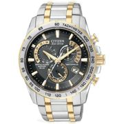 Mens Citizen Eco-drive Chrono Perpetual A-T Radio Controlled Alarm Chronograph Two-tone steel/gold plate Watch