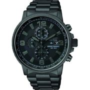 Mens Citizen Eco-drive Nighthawk Chronograph Black Ion-plated Steel Watch