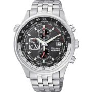 Mens Citizen Eco-drive Red Arrows World Time Chronograph Stainless Steel Watch