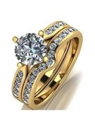 Moissanite 9ct Gold 1.5 Carat Eq Two Piece Bridal Set, White Gold, Size N, Women White Gold
