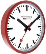 Mondaine Wall Clock Red Frame 25cm MD-068