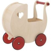 Moover Wooden Dolls Pram - Natural, Red,White