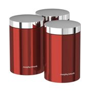 Morphy Richards 974069 Accents Kitchen Storage Canisters, Stainless Steel, Red, Set of 3