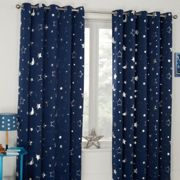 Galaxy Stars Lined Blackout Eyelet Curtains Blue