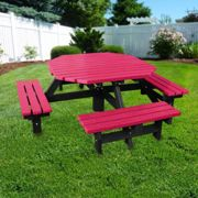 NBB Recycled Furniture NBB Recycled Plastic Octagonal 200cm Picnic Table - Cranberry Red