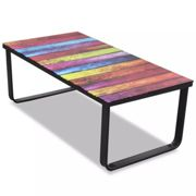 New Modern Indoor Coffee Table Tempered Glass 5mm Rainbow Printing Metal Frame