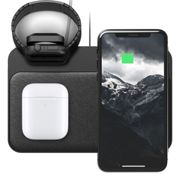 Nomad Base Wireless leather Pad Qi Charger 3x7.5W with Apple Watch Series DOCK - BLACK - NM30045A00