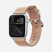 Nomad Horween Leather Strap NATURAL Modern for Apple Watch 1,2,3, 4 - 38mm-40mm - LIGHT BROWN with SILVER Nude CLIP
