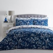 Oriental Bird Blue Duvet Cover and Pillowcase Set Blue