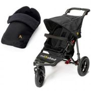 Out N About Nipper 360 Pushchair & Footmuff Bundle with FREE Tyre Pump, Black