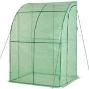 Outsunny 143 x 118 x 212cm Walk-In Lean to Wall Tunnel Greenhouse w/ Doors